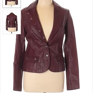 Marciano Leather Jacket Maroon Medium